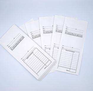 Buste per le riparazioni con schema prestampato in nero formato cm 11 x 25 in carta Kraft Bianca gr 80