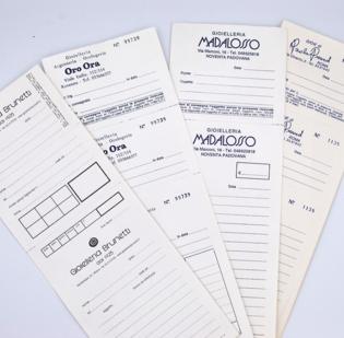 Buste per riparazioni formato cm 10 x 28 con 2 ricevute staccabile in carta Kraft Bianca gr 80