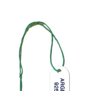 Segnaprezzi in cartoncino bianco stampa ARGENTO 925 con filo cotone