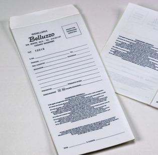 Buste per riparazioni formato cm 10 x 23 con 1 foglietto copiante applicato